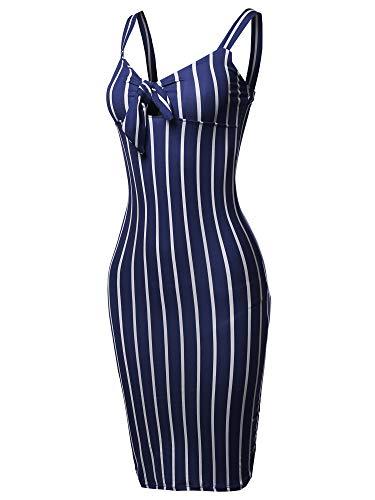 (Made by Emma Stretch Sweet Heart Neckline with Self-Tie Stripe Sexy Dress Navy L)