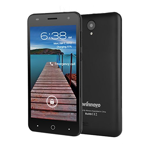 Unlocked 5 inch Dual SIM Cell Phone - Winnovo V51 3G Android Quad Core Smartphone Support at&T T-Mobile 8GB ROM 1GB RAM HD IPS Display 2600 mAh Removable Battery Black by Winnovo