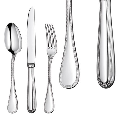 - Christofle Silver Plated Perles Dessert Fork 0010-015 by Christofle