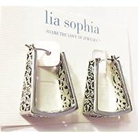 Lia Sophia Jewelry Brocade Antiqued Silver Plated Pierced Earrings RV$32