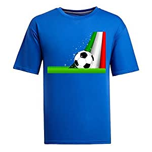 Custom Mens Cotton Short Sleeve Round Neck T-shirt,2014 Brazil FIFA World Cup Soccer Italy blue by runtopwell