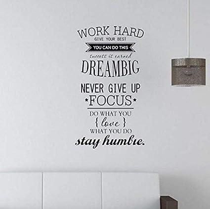 Amazoncom Evelyndavid Wall Sticker Mural Art Decal Work Hard Dream