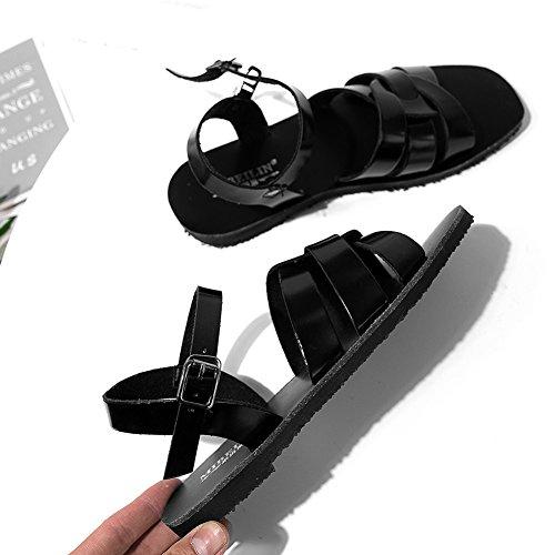 Planos Chanclas Simple Planas 555 Toe Zapatos Romanas Cinturón Peep Sandalias KJJDE XYM black De Mujer De Hebilla 5 Zapatos Playa Casuales Vendaje 5qOO4
