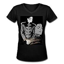 ZCNS fashion girl's Michael Jackson poster women's t shirt Black M