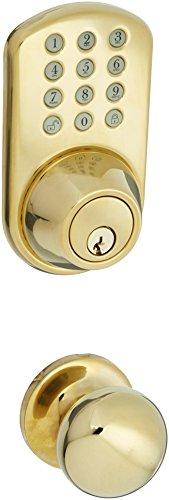 MiLocks TFK-02P Digital Deadbolt Door Lock and Passage Knob Combo with Keyless Entry via Keypad Code for Exterior Doors, Polished Brass MiLocks