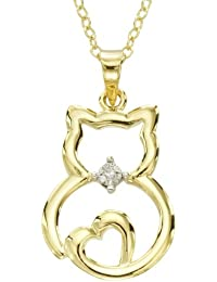 """Sterling Silver Diamond Accented Cat Pendant Necklace, 18"""""""