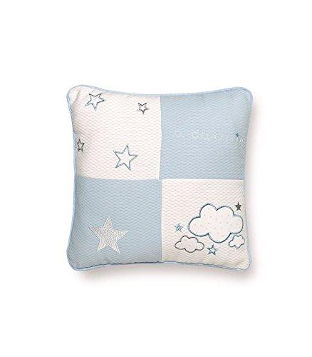 Pirulos 79013013 - Cojín bordado 30 x 30 osito star 130 13, color blanco y azul