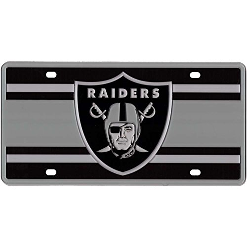 Oakland Raiders Full Color Super Stripe Inlay License Plate (Oakland Raiders Nfl Eye)