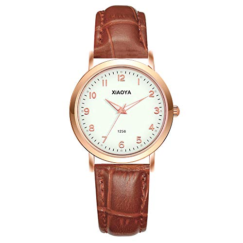Women Quartz Analog Watches Leather Band Luxury Quartz Watches Girls Ladies Wristwatch (1258 White Brown) ()