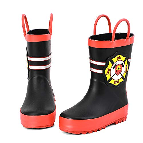 ALEADER Boys Girls Waterproof Rubber Rain Boot with Easy Pull On Handles Black/Fire Mark 7/8 M US -