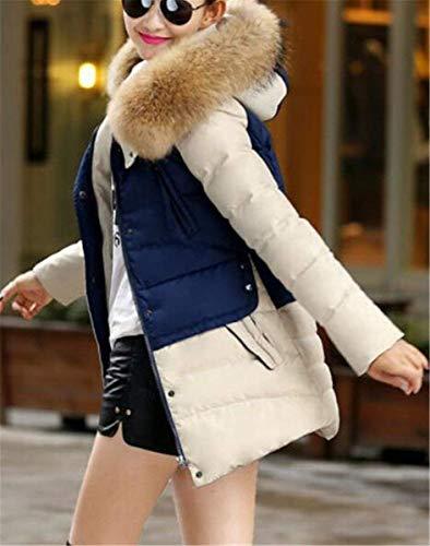 Elegante Cremallera Termica Patchwork Adelina Outwear Capucha Plumas Capa Mujer Manga Invierno Con Retro Larga Parka Delanteros Blau Bolsillos q78tS