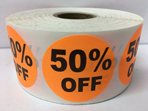 "1000 Labels 1.5"" Round Orange 50% OFF Point of Sale Discount Pricing Retail Stickers 1 Roll"