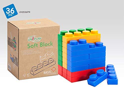 UNiPLAY (UN2036PR  - Soft Building Blocks, 36 Piece Multi Co