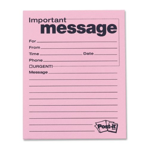Post-it Super Sticky Telephone Message Notes, 4 x 5-Inches, Pink, 12-Pads/Pack