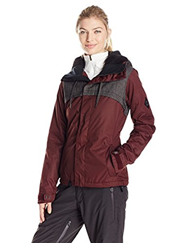 686 Women's Parklan Mystique Insulated Jacket, Black Ruby/Clear Black, Large (Ski Jacket Women 686)