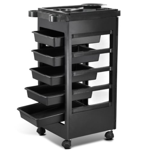 Yaheetech Hair Salon 5 Tier Storage Tray Cart Home Spa Hairdressing Trolley Black