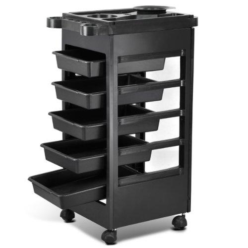 Yaheetech Hair Salon Rolling Trolley Storage Cart w/ 5-Drawer Workstation