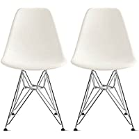 2xhome - Set of Two (2) White - Eames Style Side Chair Wire Legs Eiffel Dining Room Chair - Lounge Chair No Arm Arms Armless Less Chairs Seats Wooden Wood Leg