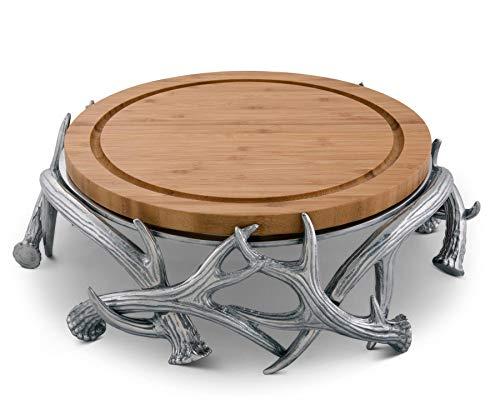 Arthur Court Designs Aluminum Antler Cheese Board Pedestal Diameter: 13