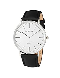 PACIFISTOR® Mens Quartz Wrist Watch Ultra Thin Slim Casual Business Black Leather Band