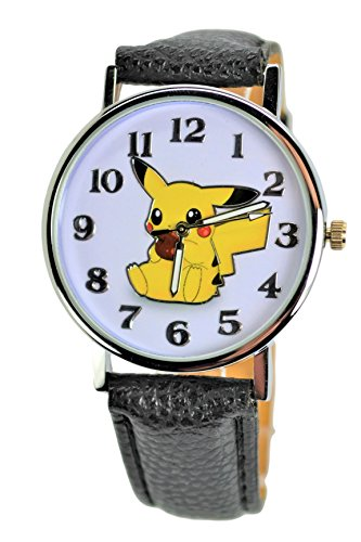 Price comparison product image Pokémon Pikachu Holding Apple Unisex Quartz Analog Watch . Large Modern Display.Luminous Watch Hands. (BLACK)