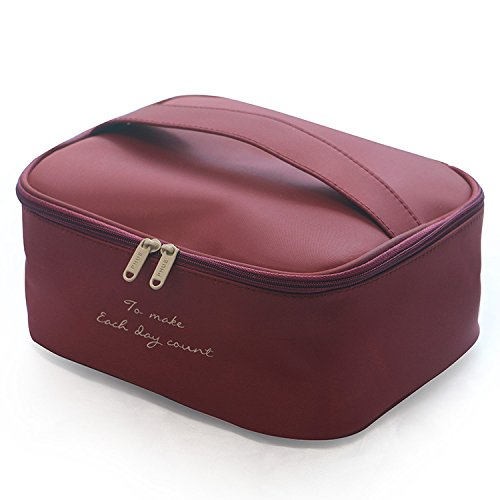MJ house-Stereoscopic make-up bag and cosmetic case handbag ,Claret