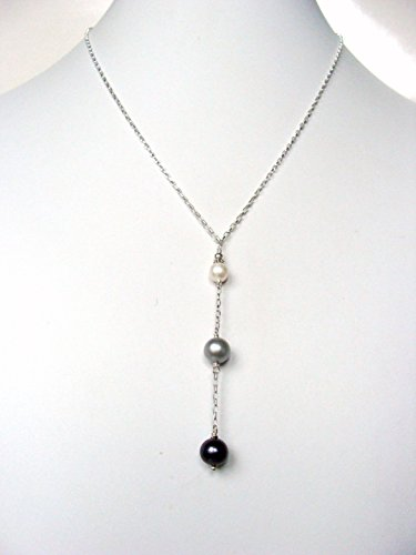 Lariat style pearl necklace, white silver black pearls sterling silver, adjustable length, on trend versatile style, handmade by Let Loose Jewelry