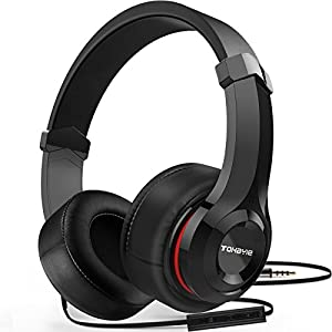 Over Ear Headphones, ToHayie Wired Stereo Headphones, Lightweight Headsets with Volume Control and Microphone,3.5mm Plug for iPhone,Samsung,Laptop,Computer,Gaming,Movie,Kids and Youth,Black