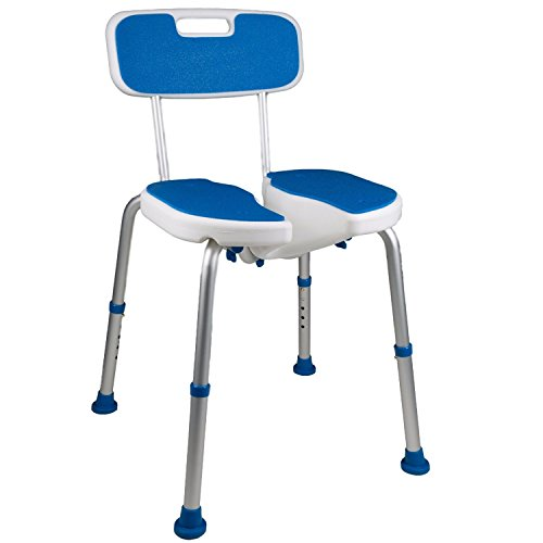 Pcp Padded Bath Shower Safety Seat with Hygienic Cutout and Backrest, White/Blue