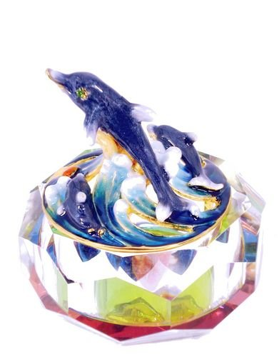 Jeweled Treasure (Jeweled Enameled Dolphins Rainbow Crystal Base Treasure Trinket Box)