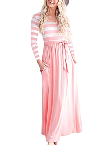 NICIAS Women Striped Elastic Long Sleeve Tunic Vintage Casual Maxi Dress with Pockets Waistband