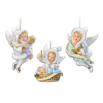 Sculpted Angels with Baby Jesus Christmas Ornaments: Bradford Exchange by The Bradford Exchange