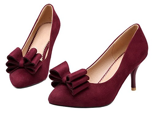 Kitten Closed Suede Shoes Toe Women's AllhqFashion Solid Heels Imitated Claret Pointed Pumps 4HIgBqwx