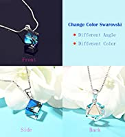 Color Changing Swarovski Crystals Jewelry, Cat Eye Jewels S925 Sterling Silver Swarovski Elements Crystals Pendant Necklace Earrings (Ocean Blue and Pink)