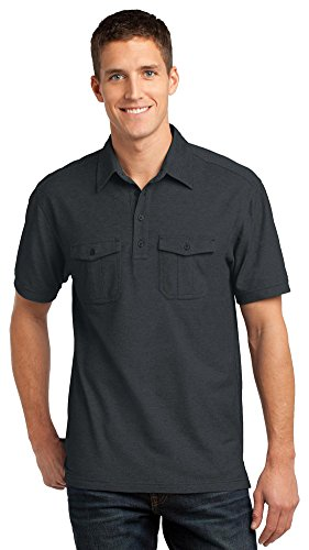 - Port Authority Oxford Pique Double Pocket Polo, Black/Monument Grey, XX-Large