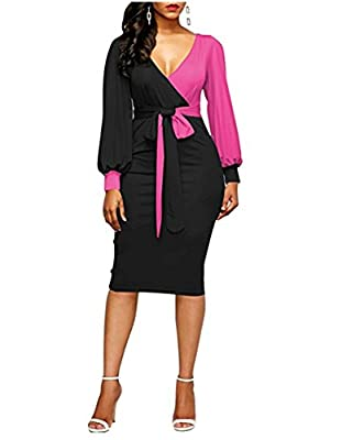 FACE N FACE Womens Sexy Deep V-Neck Midi Bodycon Dresses Long Sleeve Tie Front Colorblock Pencil Dress