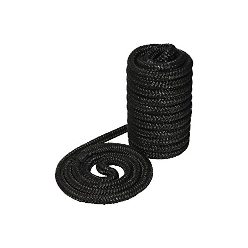 Norestar Double Braided Nylon Marine Dock Line/Boat Mooring Rope, 15 feet by 1/2 inch, Black