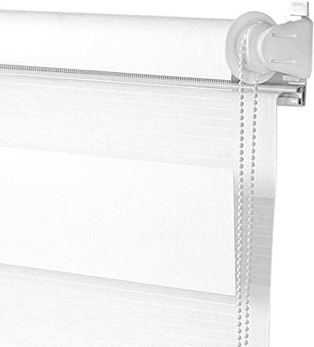 S SIENOC Doble persiana Enrollable Duorollo Estor Enrollable Doble Tejido Persiana para Las Ventanas de Oficina Estar Dormitorio (Blanco, 45x150 cm): Amazon.es: Hogar