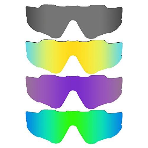 Mryok 4 Pair Polarized Replacement Lenses for Oakley Jawbreaker Sunglass - Black IR/24K Gold/Plasma Purple/Emerald - Purple And Black Oakleys