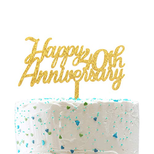 (Happy 40th Anniversary Cake Topper,Gold Glitter Cheers to 40 Years Sign,40th Birthday/Wedding Anniversary Party Decorations)