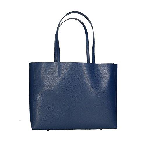 main 38x30x12 à fabriqué cuir Cm Femme en Chicca Sac Italie en Borse véritable Bleu q1WPwwtI