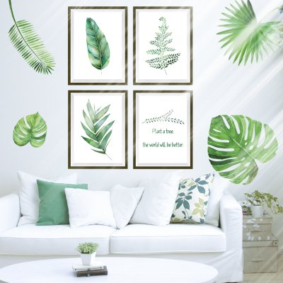Moonlight Studio ML Green Removable Wallpaper Watercolour Leaves Wall Decals DIY Peel And Stick For