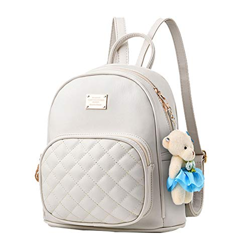 - Women Fashion Cute Leather Laides Shopping Bag Casual Backpack Travle Backpack for Girls White, Small