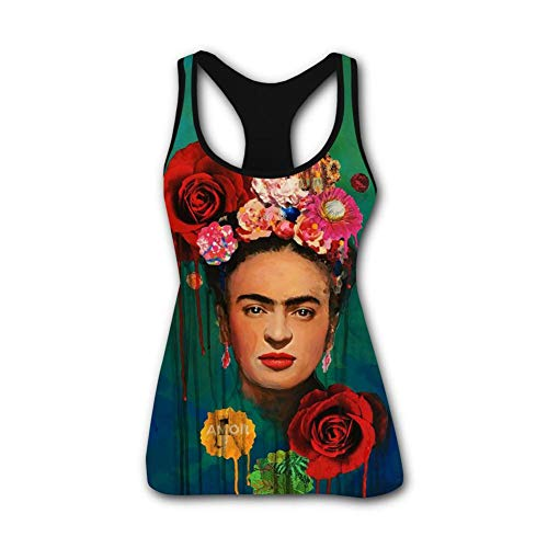 SGniod Womens Tank Tops Frida Kahlo Self-Portrait 3D Workout Yoga Sleeveless Shirt Vest Black]()