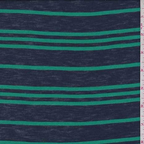 Amazon Com Navy Green Stripe Cotton Jersey Knit Fabric By The Yard