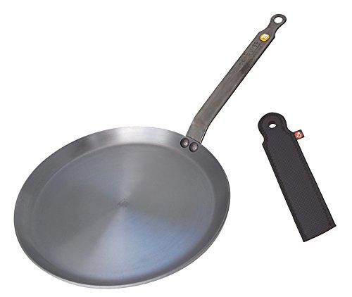 De Buyer Mineral B Element Crepe Pan Bundle with Neoprene Sleeve (24 cm)