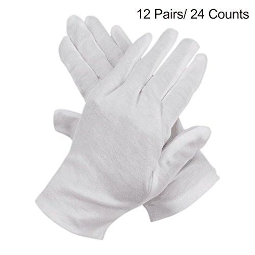 iLoveCos Cotton Gloves for Eczema White Coin Jewelry Inspection Lisle Gloves 12 Pairs (24 Gloves) (White Gloves Kids)