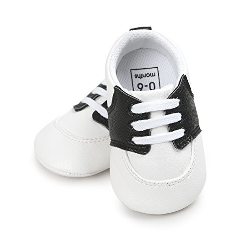 Etrack-Online Baby Saddle Shoes - Zapatos primeros pasos de Piel Sintética para niño negro