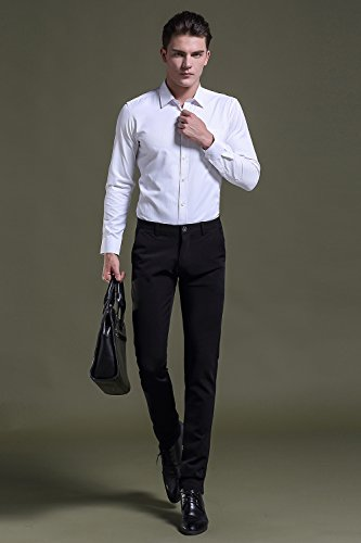 e70b7ac9156f FLY HAWK Mens Business Casual Dress Pants Stretchy Straight Leg Dress  Trousers Black Slacks US Size