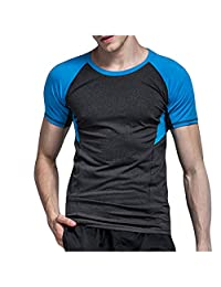 Ackful Men's Solid Color Fitness Quick Dry Short Sleeve Shirt Home Yoga Tights